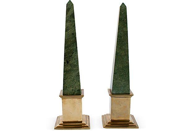 Green Marble Brass Obelisks Pair Green Marble Obelisk Marble