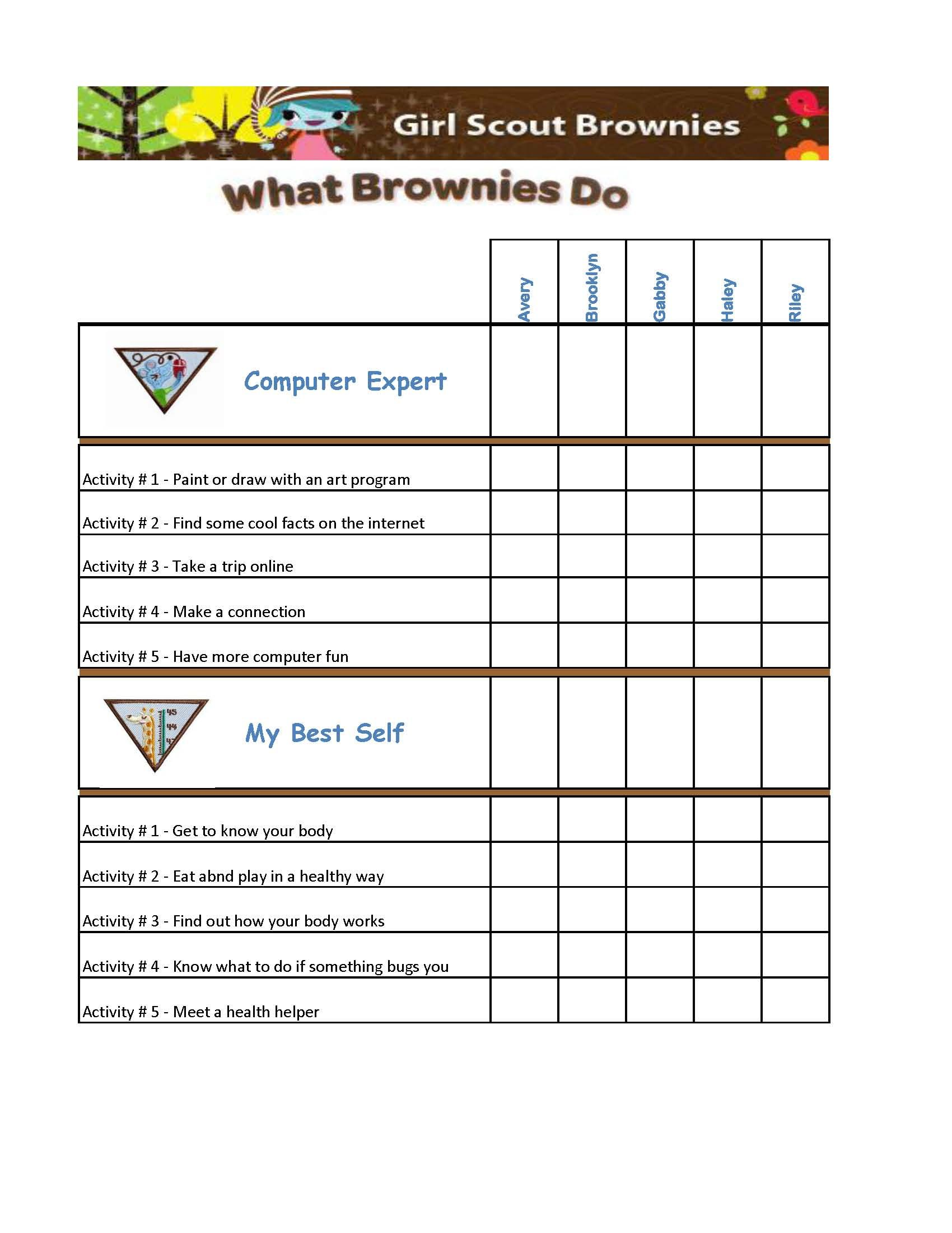 graphic about Girl Scout Cookie Thank You Notes Printable titled Woman Scout Brownie Badges Chart if I simply I can be this