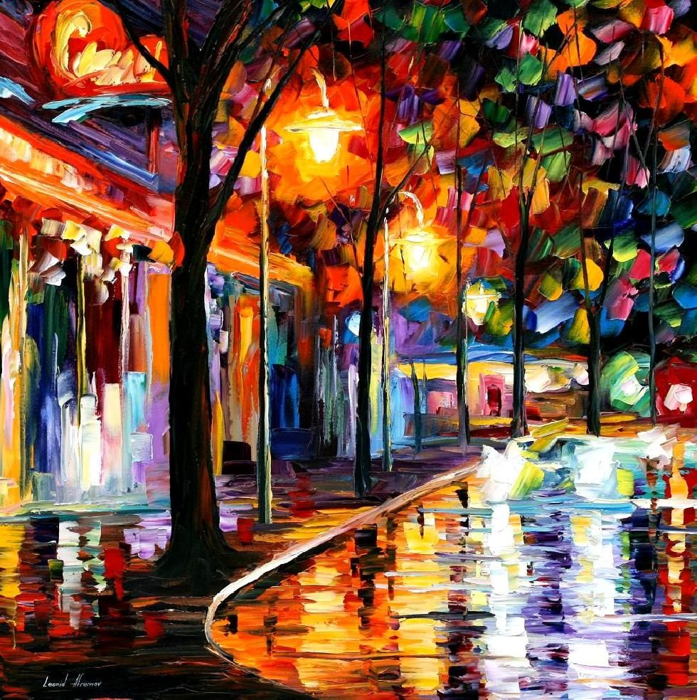 Famous cafe painting - Night Cafe Palette Knife Oil Painting On Canvas By Leonid Afremov Http