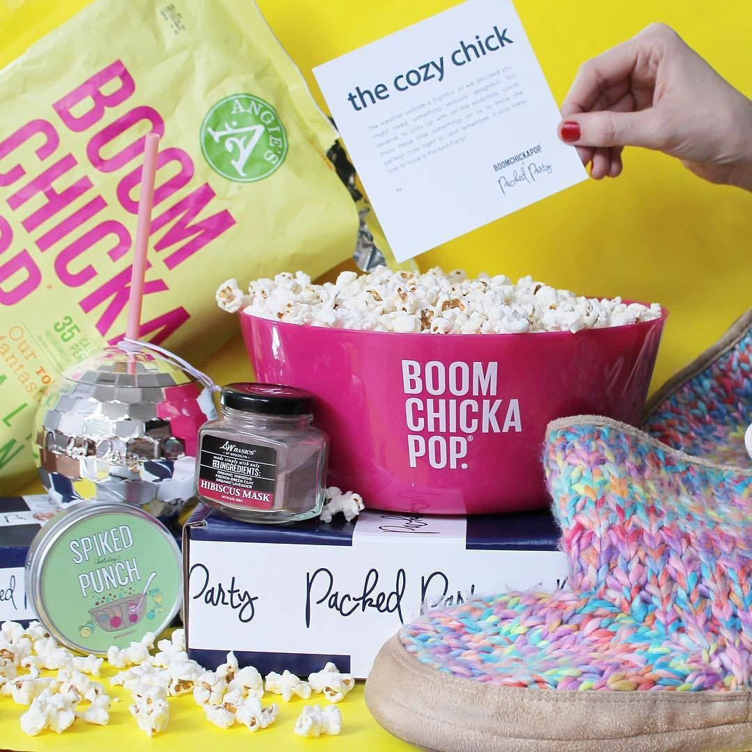 Guess what Party Girls?! You guys told us you were as obsessed with @angiesboomchickapop as we are so we teamed up with em' to do a fun holiday giveaway! Meet this custom Cozy Chick Packed Party we're gifting to FIVE yes FIVE Party GirlsAll you have to do to enter to win is the three things below and you'll be well on your way to cozying up by the fire with all these goodies 1) Follow both us and @angiesboomchickapop 2) Tag two besties who you'd be cozying up with to throw this party if you…