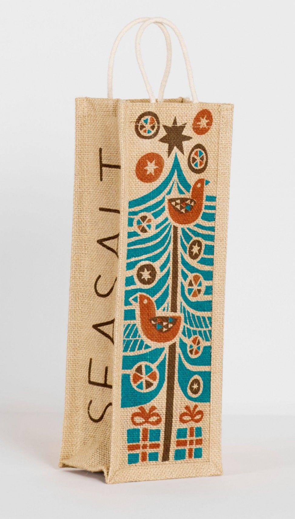 Download Wine Bottle Jute Bag With Folk Art Skandi Style Christmas Tree Print By Matt Kohnson For Seasalt Cornwall Christmas Robin Jut Jute Bags Printed Bags Tree Print