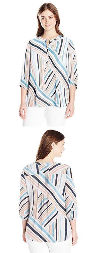 cdc2d6f94d0 NYDJ Women's Plus Size 3/4 Sleeve Henley Pleat Back Blouse, Beachfront  Stripe, 2X