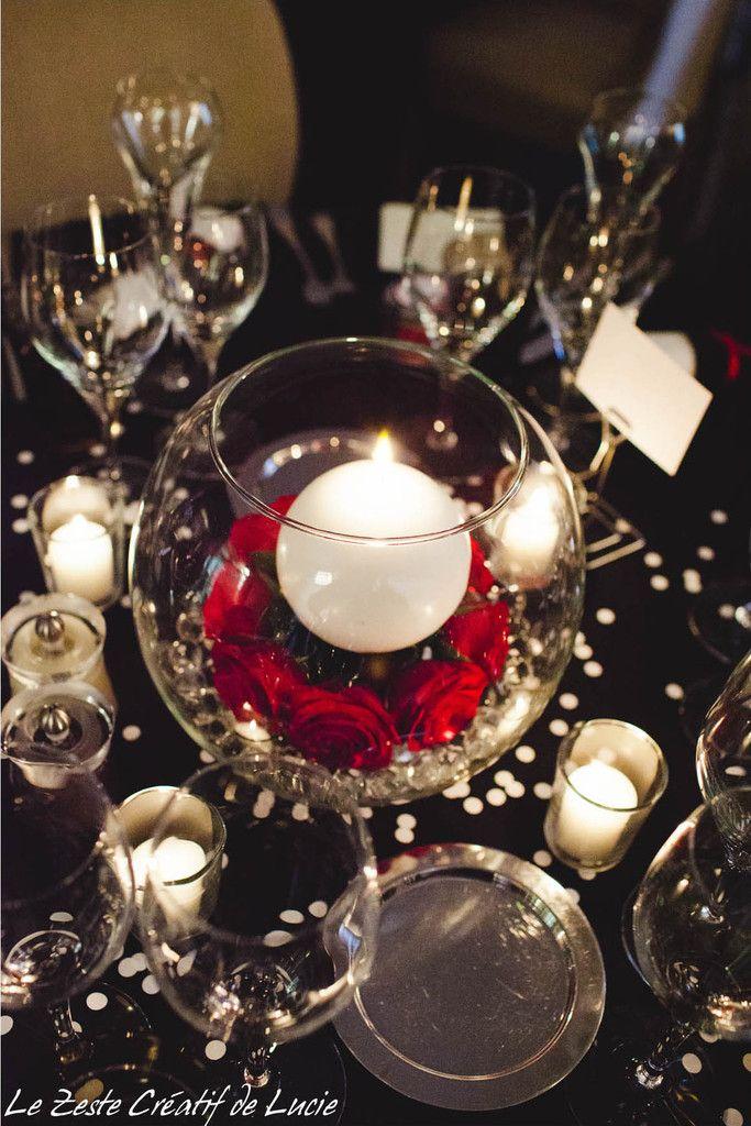 Mariage noir pois blanc avec une touche de rouge bal soins infirmiers - Idee deco noir et blanc ...