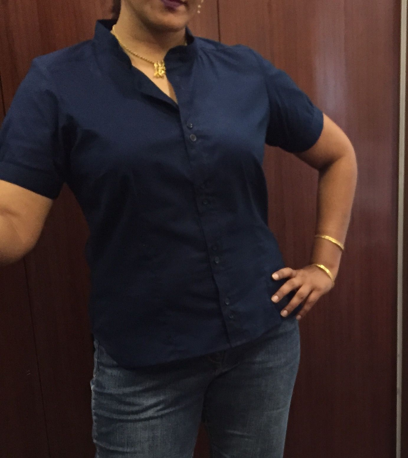 Blue cotton blouse with mandarin collar. Amazing fit!