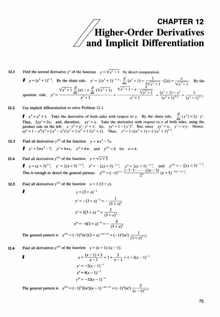 Chapter 12 Higher Order Derivatives And Implicit Differentiation Math4st Calculus Chain Rule Ap Calculus