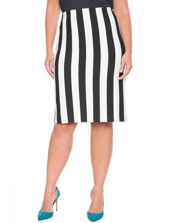 Vertical Striped Pencil Skirt | Women's Plus Size Skirts | ELOQUII
