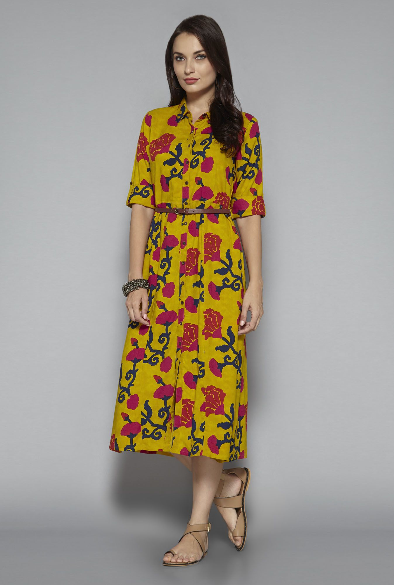 f24fbd4e32eb1 Bombay Paisley by Westside Mustard Floral Print Shirt Dress | uts in ...
