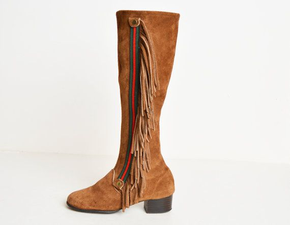 1960s Brown Suede Leather Fringe Knee