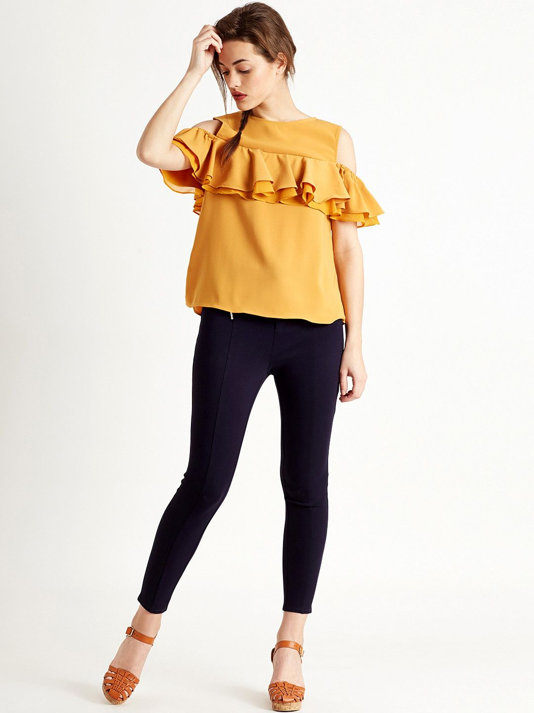 60ee6dda06a Buy COVER STORY Mustard Yellow Cold-Shoulder Top with Ruffles online in  India at best price.Mustard yellow top with ruffles, has a round neck, ...