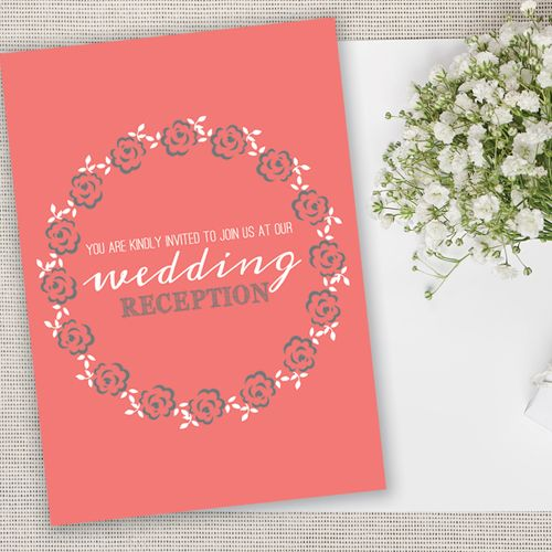 Pretty Grey and Coral Rose Wedding Evening Reception Invitations & Envelopes | www.giftwrappedandgor