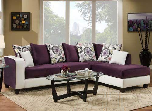 White And Purple Sectional Sofa Velvet Living Room Furniture