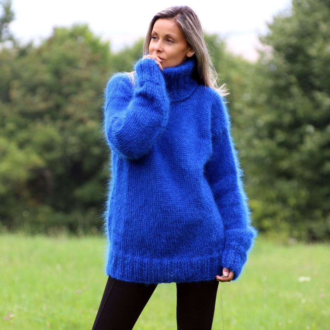 Hand Knit Mohair Sweater Royal Blue Turtleneck Jumper Pullover by ...