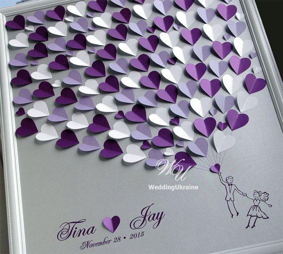 Hochzeit Gast Buch Alternative auf silbernem Hintergrund. Personalisiert mit Ihrem Namen und Datum Hochzeit, bietet eine einzigartige Weise des Ausdrückens Ihrer Liebe an Ihrem besonderen Tag. Weiß, Lavendel und lila Hochzeit Baum. Silber, lila, weiß und Lavendel Herz.  ------------- TO ORDER -------------- Bitte 1. Wählen Sie aus der Dropdown-Liste eine Größe und Anzahl der Herzen. 2 Farben von Herzen aus der Dropdown-Liste auswählen. 3. in den Verkäufer-Feld beachten Sie bitte Folgendes: -Z...
