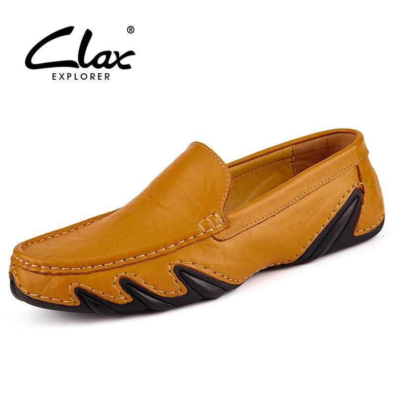 Clax Men Leather Flats Shoes 2017 Spring Summer Men s Boat Shoe Black Blue Casual  Loafers Elegant Moccasin Leisure FootWear 80712919d885