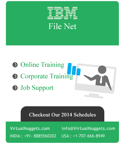 VirtualNuggets is proud to be one of the leading company of IT online training. We are into IBM FileNet online training with much passion and dedication from many years.  IBM FileNet Online Training Overview:   There are many ways to accomplish tasks with IBM FileNet powerful P8 system. Sometimes to get the most out of a P8 system, you need to streamline tasks or processes with a little custom application development.