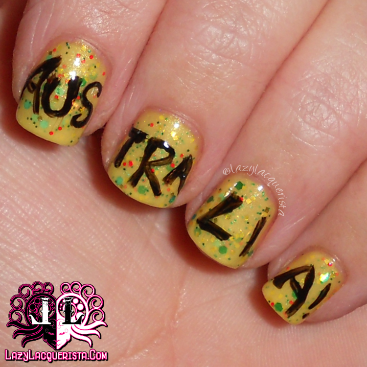 Lazy Lacquerista Aussie Nails Australia Day Nail Art Green And