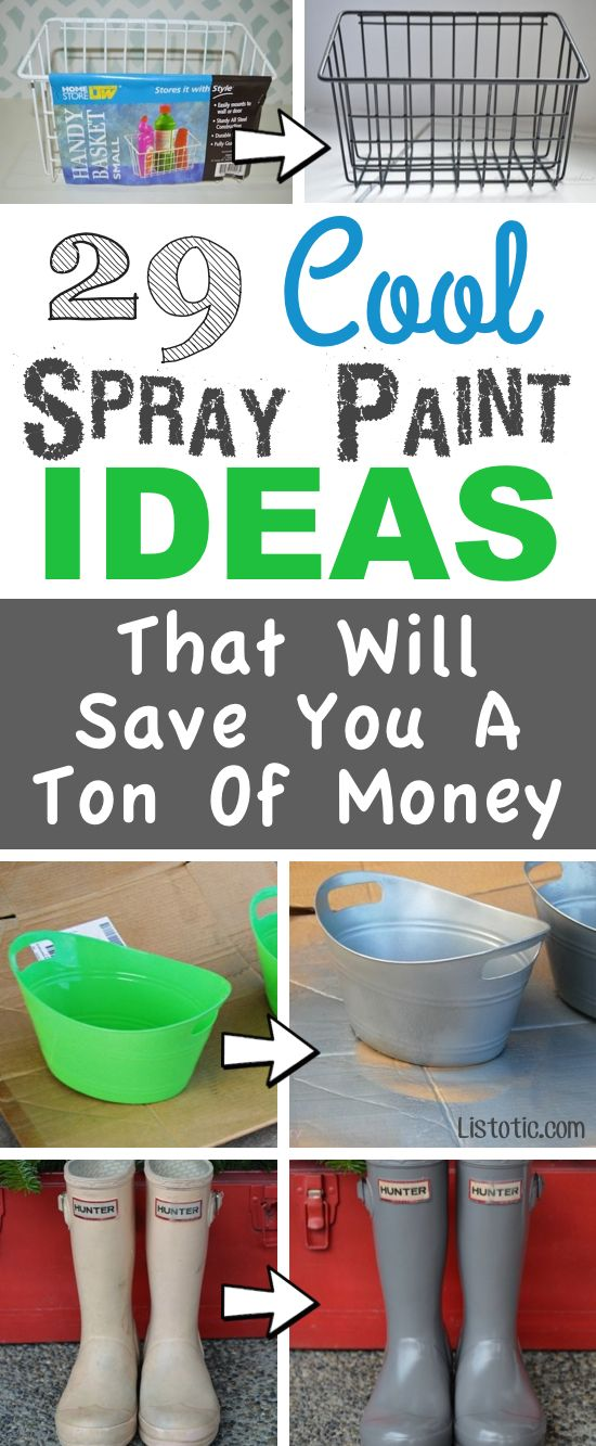 Lots of DIY spray paint ideas!! For home decor, furniture, updating old things, and art projects! Listotic.com