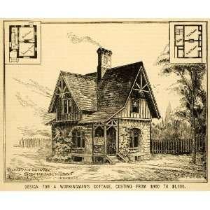 1891 Print Home Architectural Design Floor Plans Victorian Architecture Dwelling Original Halftone Print