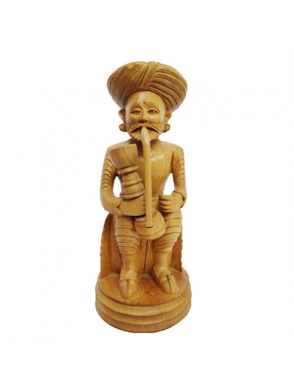 Engraved Wooden Statue Village Man Decor Art | IndianBeautifulArt