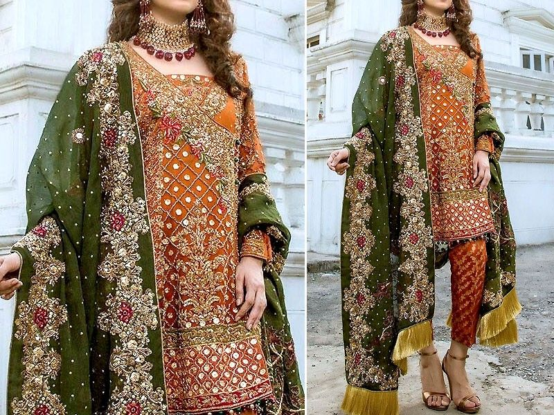 Embroidered Chiffon Bridal Dress Price In Pakistan M011647 2019 Prices Reviews Top Wedding Dresses Latest Pakistani Fashion Fancy Dresses