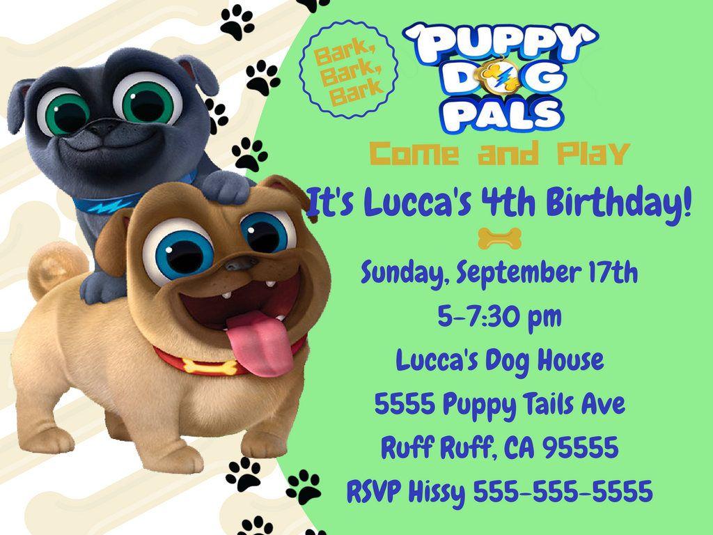 Puppy Dog Pals Birthday Invitation Puppy Dog Pals Puppy Dog Etsy In 2020 Birthday Invitations Dogs And Puppies Puppy Party
