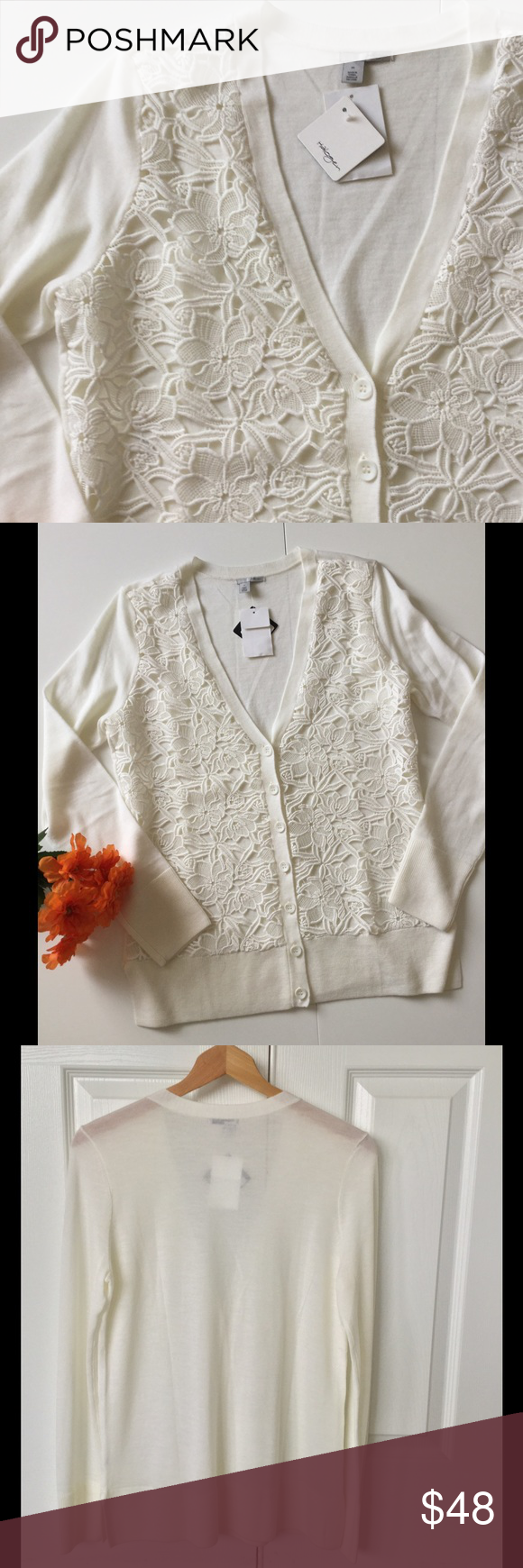 Halogen Lace Sweater NWT Merino Wool NWT | Lace sweater, Merino ...
