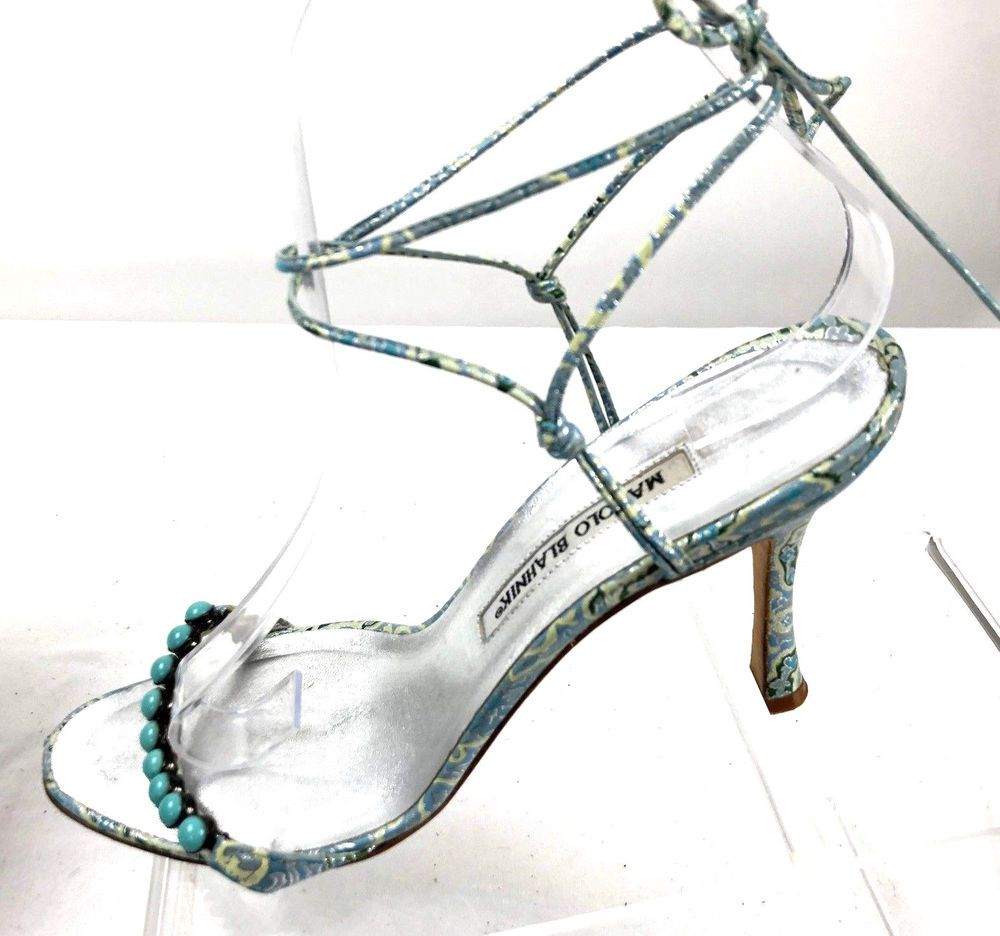 bb30a7495e7 Manolo Blahnik Turquoise Prisca Casba Lace Up Sandals US 8.5 Made In Italy   ManoloBlahnik  Sandals  Casualdress