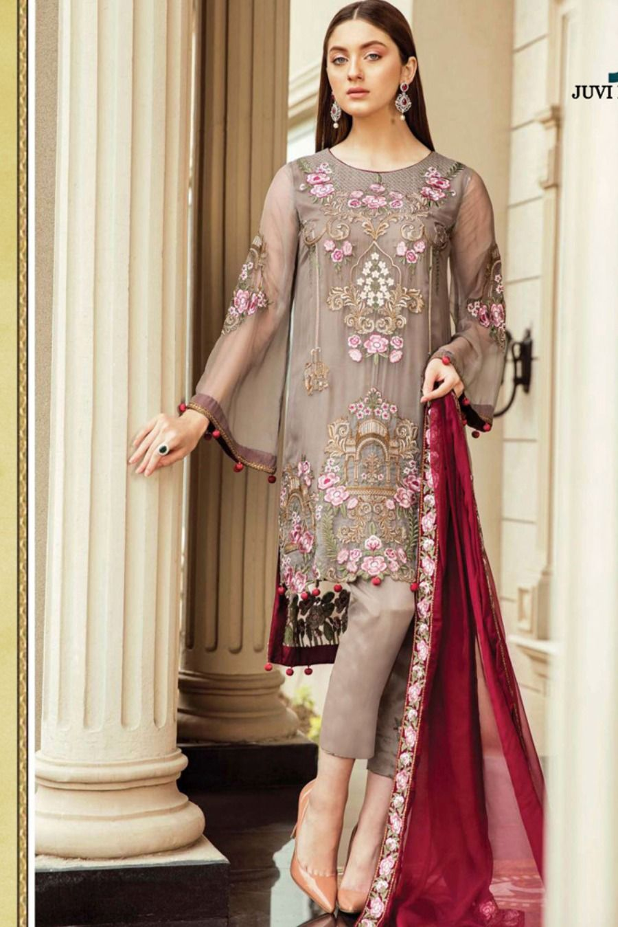 Beautiful Coffee Colour Designer Embroidered Salwar Suit