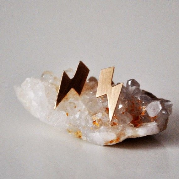 14K Gold Lightning Bolt Stud Earrings