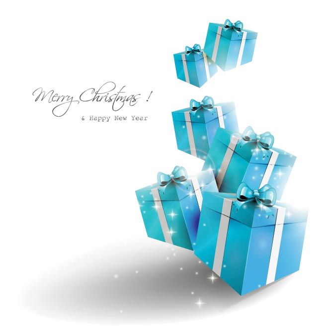 Free Vector Blue Abstract Gift Box Merry Christmas and Happy New - new year greeting card template