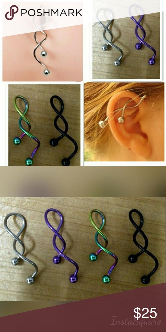 Silver Twist Spiral Industrial Piercing Barbell Twist Spiral Ear