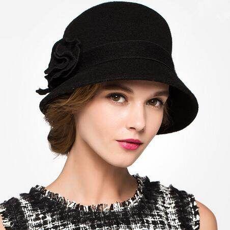 934efce59c56e Flower bucket hat for women wool blended winter hats