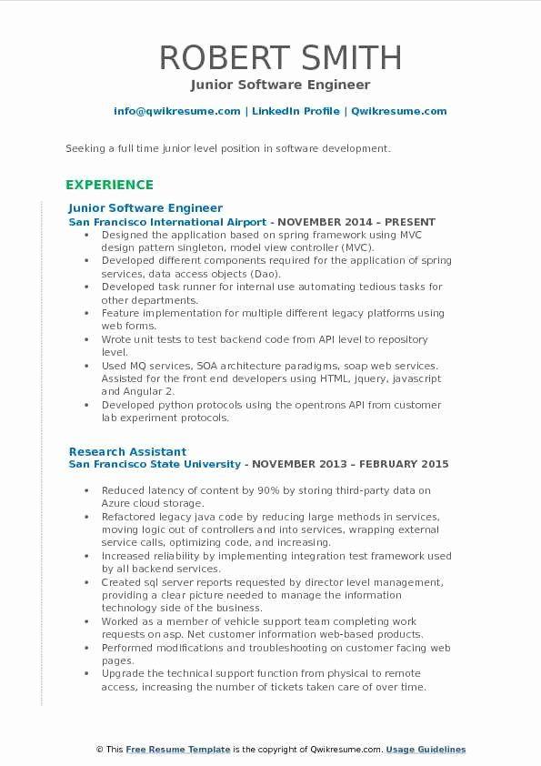 Junior Software Developer Resume Luxury Junior Software Engineer Resume Samples