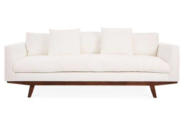 Carmel Linen Sofa, White, One Kings Lane ($1,999   $2,499)