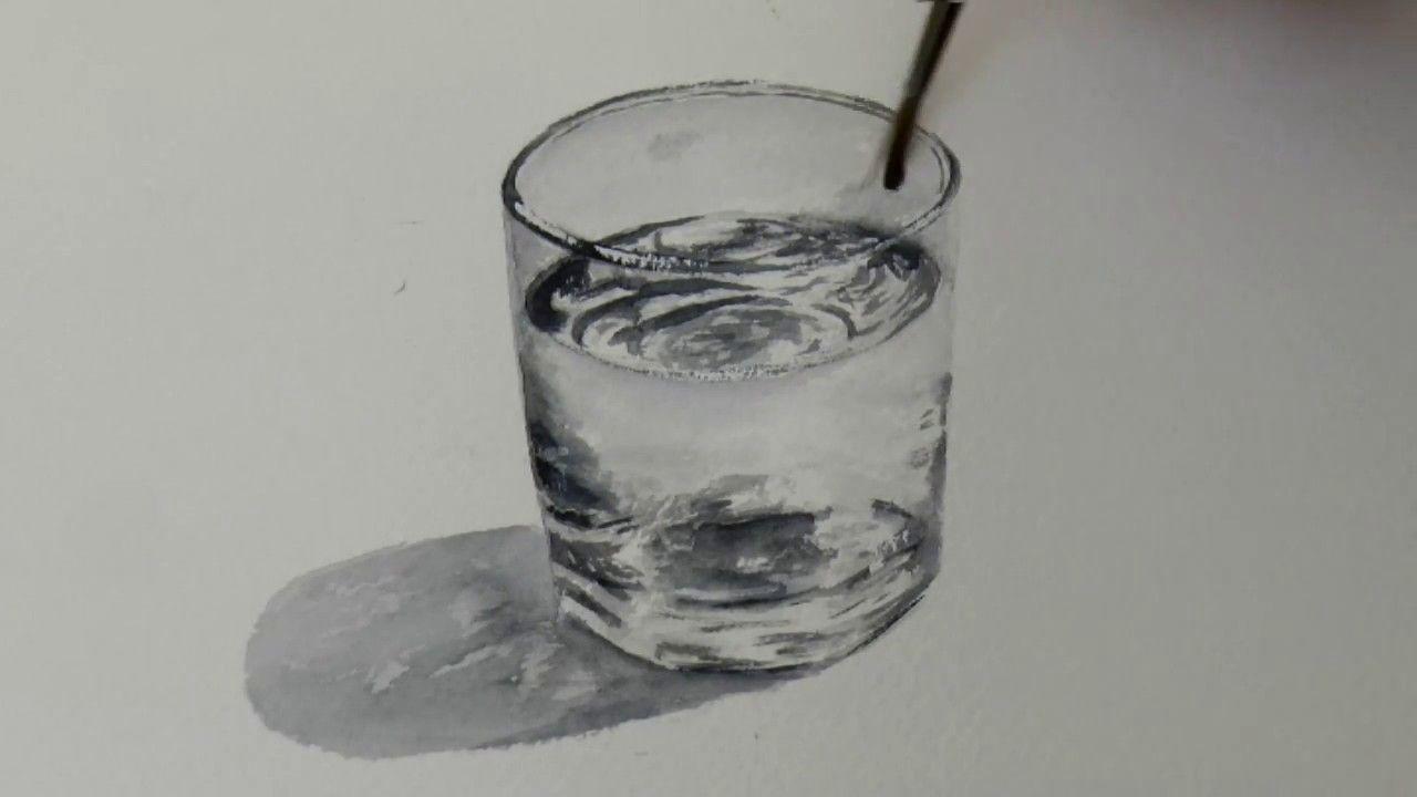 Акварель. Стакан с водой. Glass of water in Watercolour ...