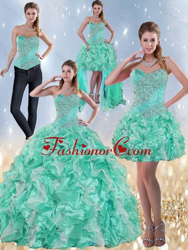 35dbf3ccdad Recommended Exclusive Sweetheart Quinceanera Dresses in Apple Green with  Ruffles and Beading for 2015 ZY791TZA2FOR
