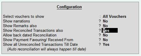 bank reconciliation configuration in tally erp9 my work