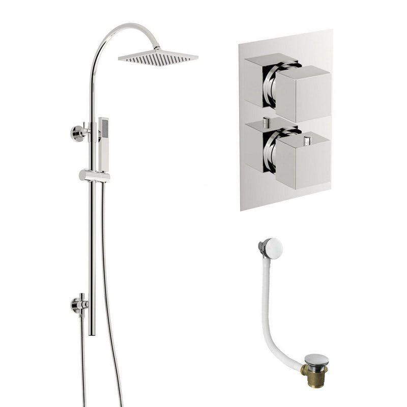 Mode Ellis Thermostatic Shower Bath Riser Rail Set Modern Shower