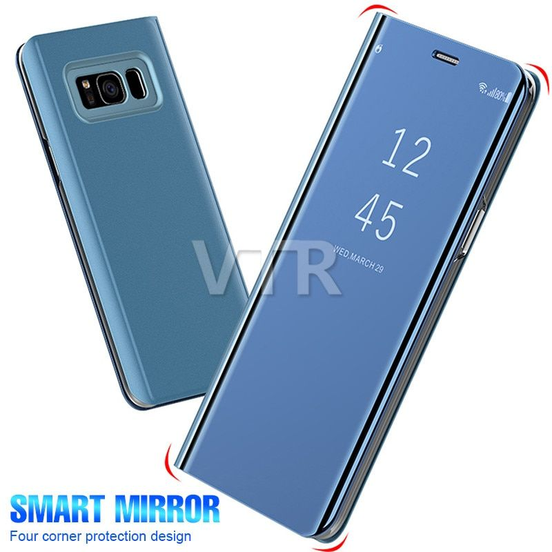 Plating Mirror View Flip Smart Leather Phone Case For Samsung Galaxy S9 S8 Plus S7 Edge Note 8 Samsung Phone Samsung Galaxy Samsung