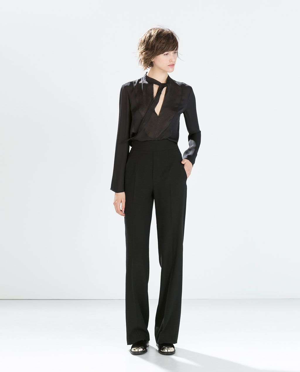 f1e29756ff Image 1 of HIGH-WAISTED WIDE TROUSERS from Zara   My Style: Quirk at ...