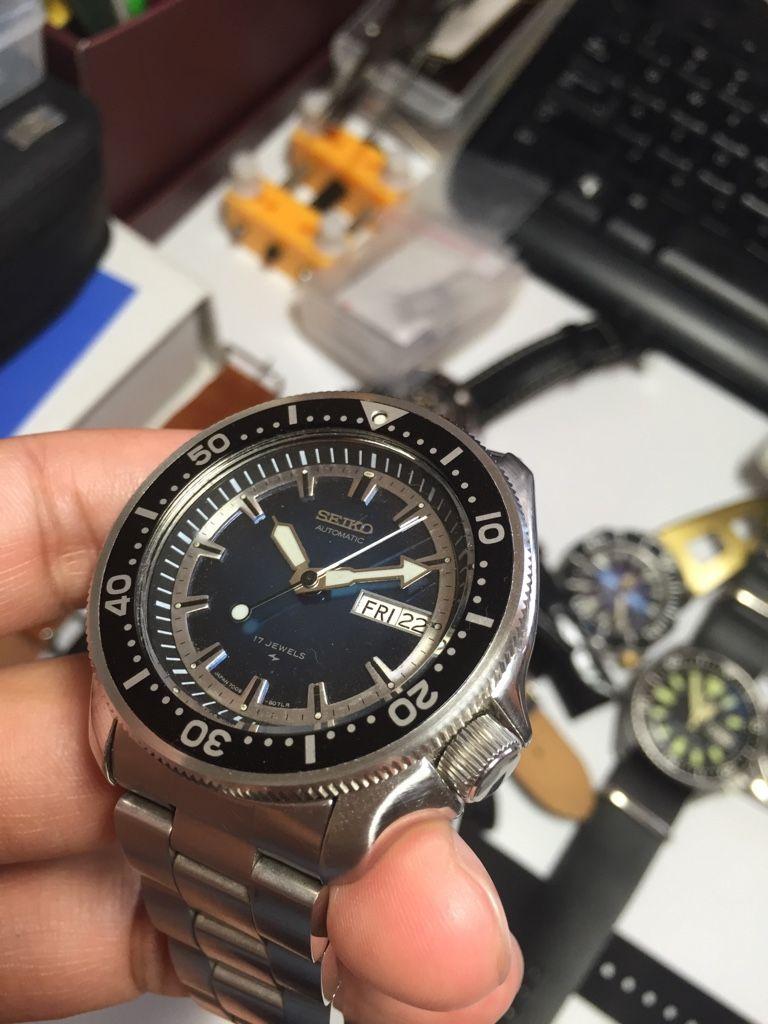 Seiko 7009 sunburst dial with Murphy coin bezel onto skx