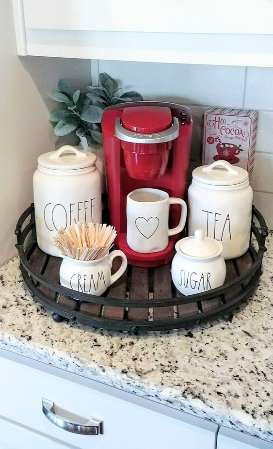 This Coffee Bar Serving Tray For A Small Space Fits Perfectly On This Kitchen Counter And Is So Pret Coffee Bars In Kitchen Home Coffee Stations Diy Coffee Bar