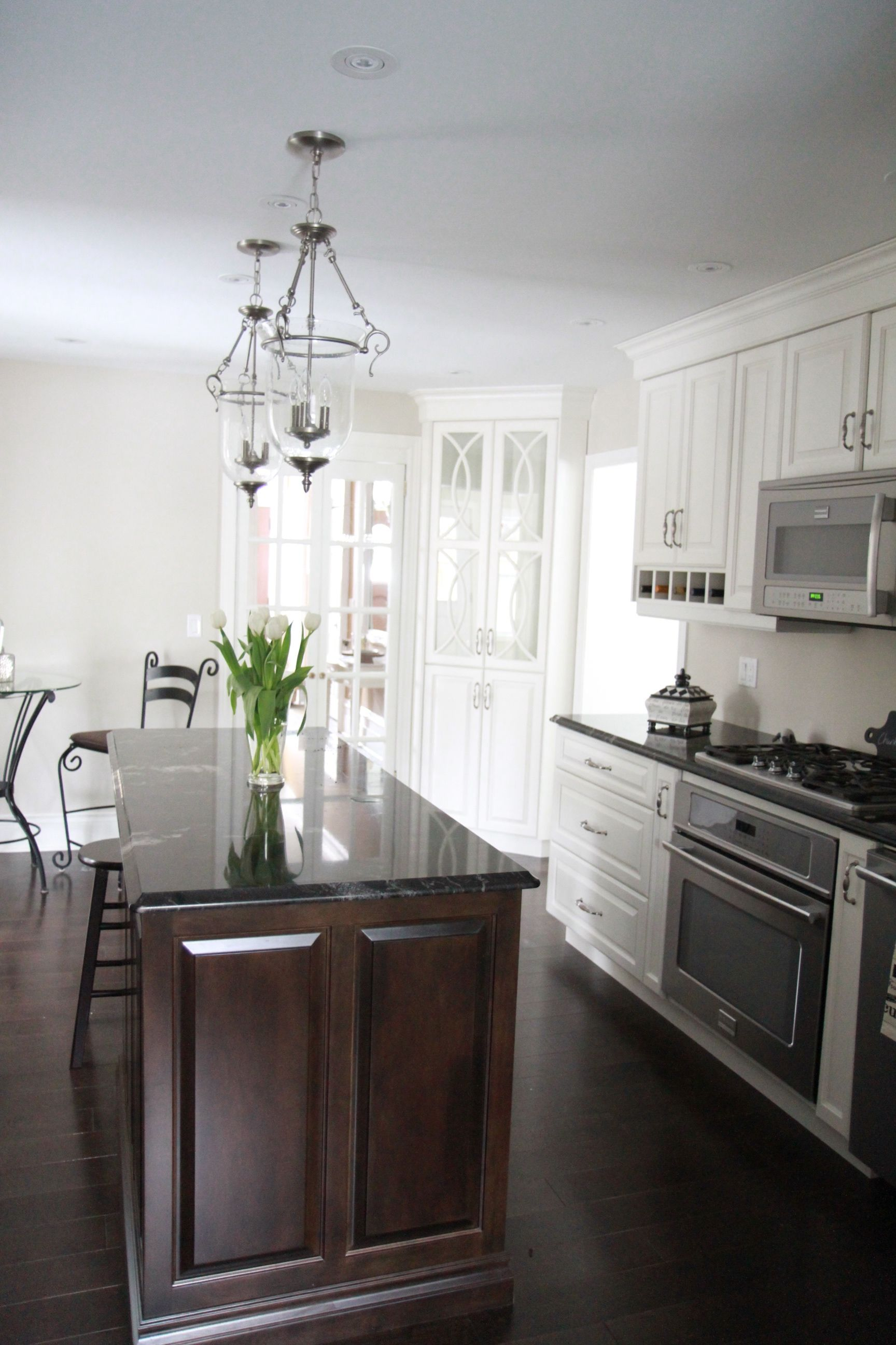 white custom kitchen and tear drop lights | Our house | Pinterest ...