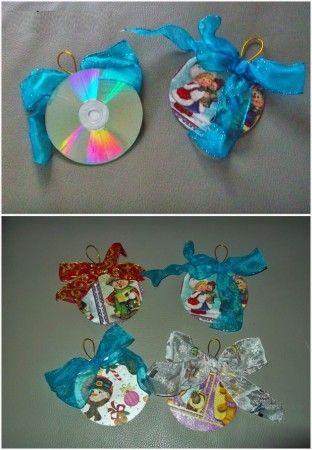 Como Hacer Adornos De Navidad Con Cd Navidad Pinterest - Adornos-de-navidad-reciclados-como-hacerlos