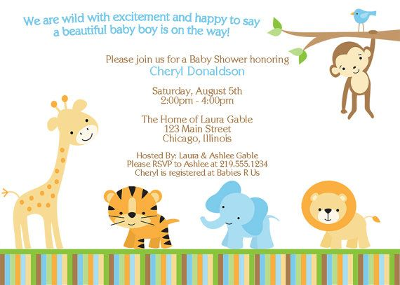digital jungle theme baby shower invitation, safari, zoo, animals, Baby shower invitations