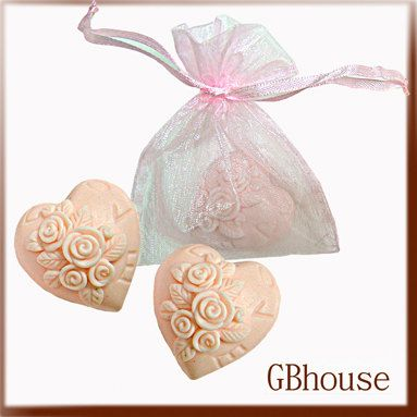 "2D Silicone Soap Mold ""Wedding -Mini Rose Heart"" 2 cavities - free shipping. $24.50, via Etsy."
