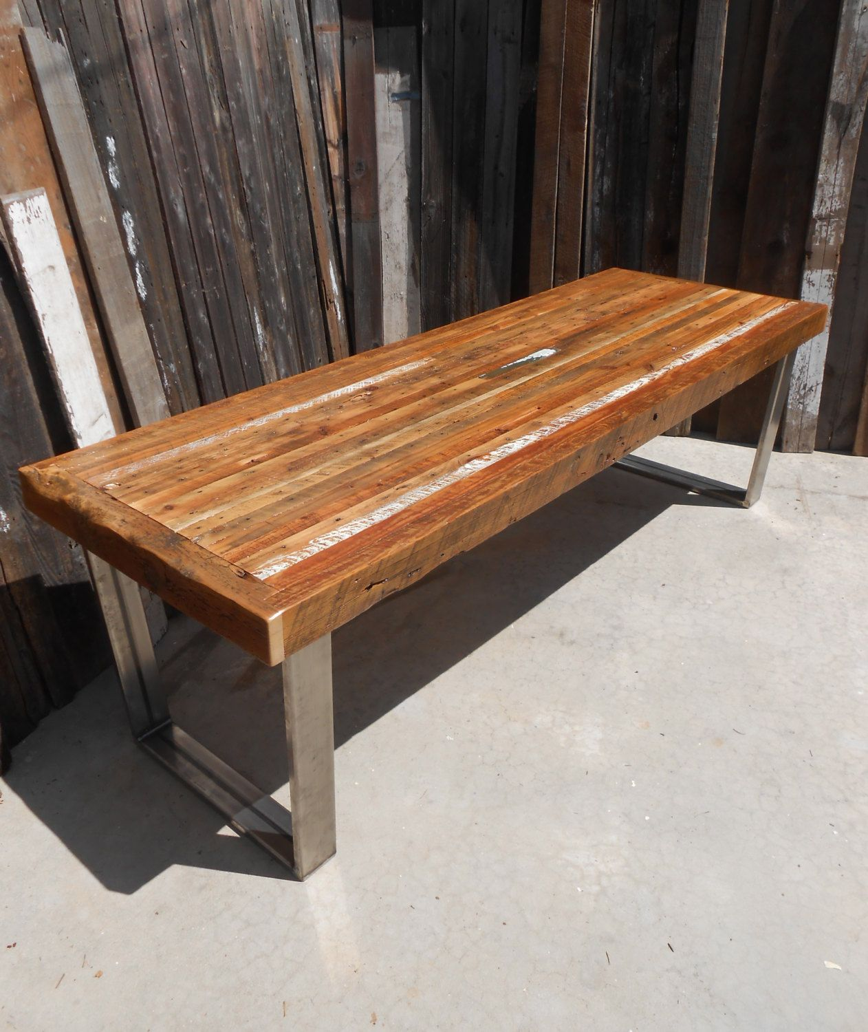 Custom Outdoor Indoor Rustic Modern Reclaimed Wood Dining Table Coffee Made To Order