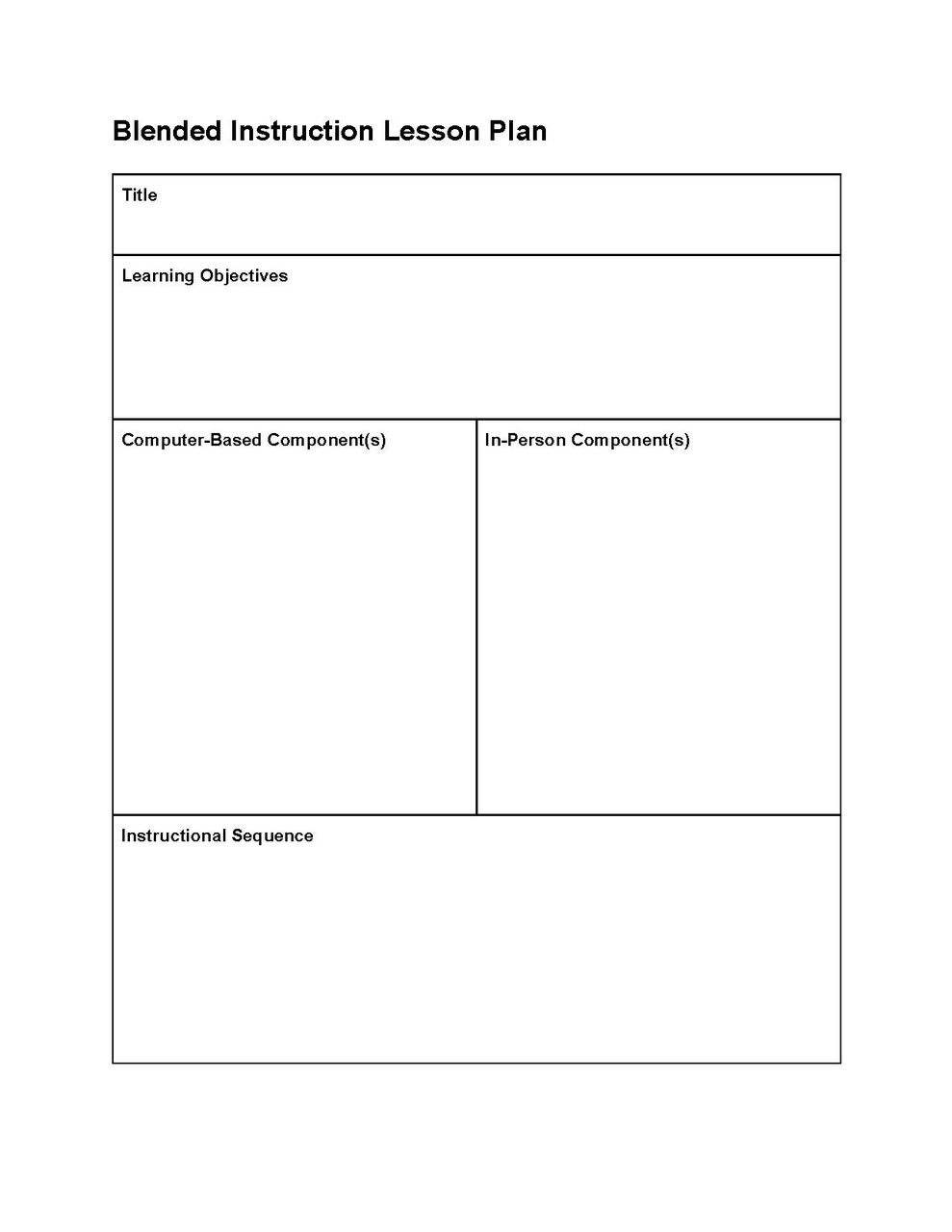 this editable lesson plan template can be used to create blended