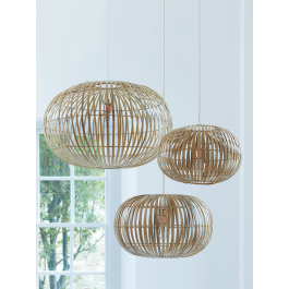 The ultimate in Scandi-style with a slight retro nod, these iconic pieces are a real find. Available in three different sizes, these stylish shades are easy to hang from an exisiting light fitting and look great hung together at different heights. The slatted design of these delicate lightshades gives the light a soft glow, making it perfect for the living room or bedroom. As seen in Elle Decoration. Click here to view our useful lighting guide. Due to the size and weight of this item in…