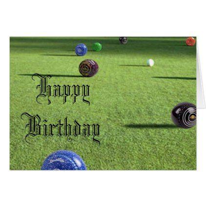 Colorful Lawn Bowls Happy Birthday Card Birthday Pinterest